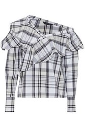 W118 By Walter Baker One Shoulder Ruffled Checked Cotton Poplin Blouse Black