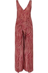 Diane Von Furstenberg Acella Tie Front Tiger Print Cotton And Silk Blend Voile Jumpsuit Claret
