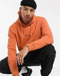 Mennace Essential Signature Regular Hoodie In Orange