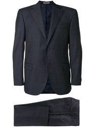 Corneliani Checked Two Piece Suit Blue
