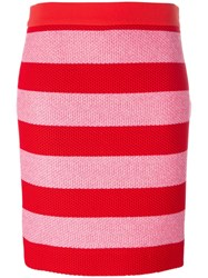 Boutique Moschino Striped Fitted Skirt Red