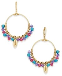 Lonna And Lilly Gold Tone Shell Multi Bead Drop Hoop Earrings