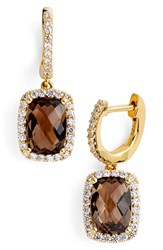 Women's Lafonn 'Aria' Rectangular Drop Earrings Gold Smokey Quartz