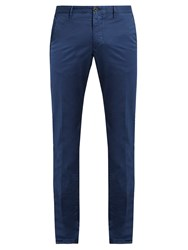 Incotex Skinny Fit Cotton Blend Chino Trousers Blue