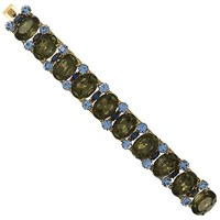 Eclectica Vintage 1950S Gold Plated Glass Stone Bracelet Charcoal Blue
