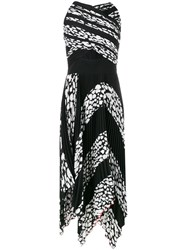 Proenza Schouler Pleated Leopard Print Cutout Dress Women Silk Polyester Acetate Viscose 4 Black