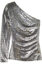 Maje One Shoulder Sequined Mesh Top Silver