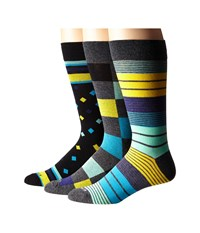 Steve Madden 3 Pack Fashion Crew Socks Charcoal Yellow Men's Crew Cut Socks Shoes Multi