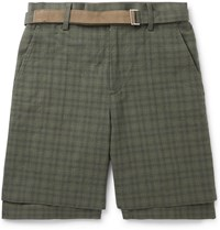 Sacai Belted Checked Cotton Shorts Brown