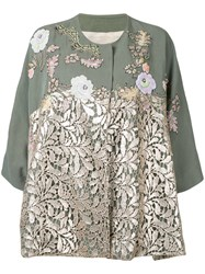 Antonio Marras Lace Panel Jacket Women Linen Flax Polyester Lyocell 42 Metallic