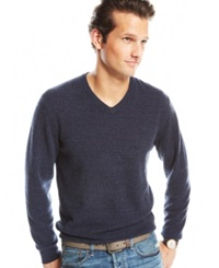 Club Room Big And Tall Cashmere V Neck Sweater Midnight Blue Marl