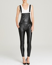 Black Orchid Overalls Skinny Faux Leather Black Vegan Leather
