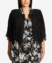 City Chic Trendy Plus Size Faux Suede Fringe Jacket Black