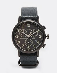 Timex Weekender Chronograph Oversized Leather Watch In Black Tw2p62200 Black