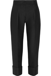 Issa Cotton And Silk Blend Cropped Wide Leg Pants
