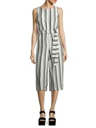 Alice Olivia Franny Cropped Linen Jumpsuit White Black