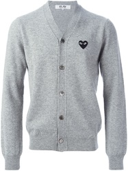 Comme Des Garcons Play Logo Patch V Neck Cardigan Grey