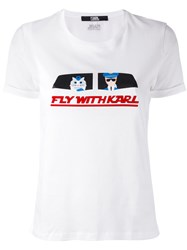 Karl Lagerfeld 'Fly With Karl' T Shirt White