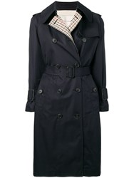 Mackintosh Checked Back Trench Coat Blue