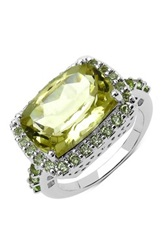 Olivia Leone Sterling Silver Lemon Topaz And Peridot Ring