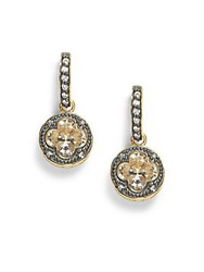 Freida Rothman Cz 14K Gold Vermail Plated And Sterling Silver Drop Earrings No Color