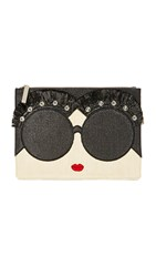 Alice Olivia Stace Face Embellished Large Zip Pouch Multi