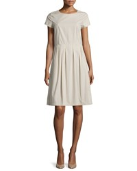 Lafayette 148 New York Gina Short Sleeve Pleated Dress Women's Khaki
