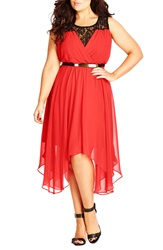 City Chic Belted Lace Contrast Back Keyhole Dress Plus Size Hot Coral