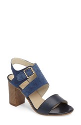 Bos. And Co. Women's Irene Block Heel Sandal Blue Ocean Leather