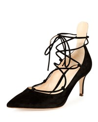 Gianvito Rossi Suede Lace Up 70Mm Pump Black