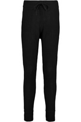 Alexander Wang Ribbed Wool And Cashmere Blend Skinny Pants Black