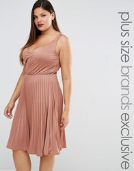 Truly You Plunge Pleated Midi Dress Pink