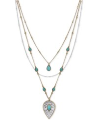 Lucky Brand Two Tone Blue Stone Layered Pendant Necklace Two Tone