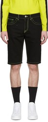 Versus Black Fluorescent Stitch Denim Shorts