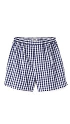 Sleepy Jones Victor Large Gingham Boxers Navy
