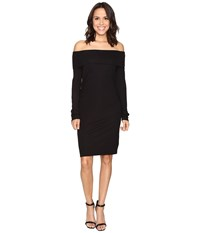 Heather Long Sleeve Off Shoulder Dress Black Women's Dress