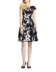 Adrianna Papell Petite Wildflower Printed Faille Fit And Flare Dress Black Multi
