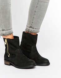 Selected Femme Leva Black Leather Ankle Boots