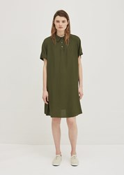 Aspesi Silk Polo Dress Green