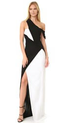 Thierry Mugler Draped Gown Black Off White