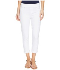 Liverpool Sienna Pull On Rolled Cuff Capris Slub Stretch Twill In Bright White Bright White Women's Jeans