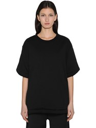 Maison Martin Margiela Padded Oversized Cotton And Satin T Shirt Black