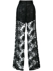 Ryan Roche Sheer Palazzo Pants Women Silk Cotton Polyester 2 Black