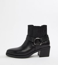 79bb83d34c3 Simone Leather Western Buckle Ankle Boots Black