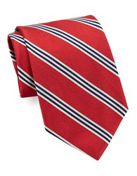 Brooks Brothers Classic Multi Striped Silk Tie Red