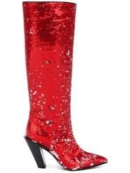 A.F.Vandevorst Sequinned Pointed Boots Red