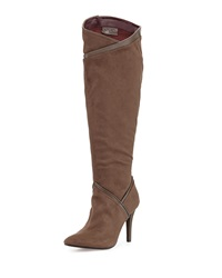 Report Signature Dynomyte Suede Point Toe Knee Boot Gray
