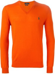 Polo Ralph Lauren V Neck Sweater Yellow And Orange