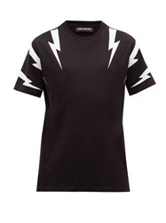 Neil Barrett Thunderbolt Logo Print Cotton T Shirt Black White