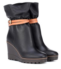 See By Chloe Kelvin Leather Wedge Ankle Boots Black